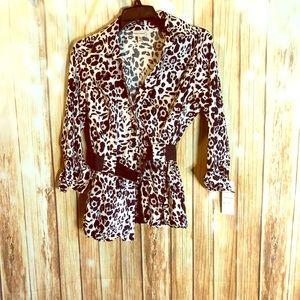 NWT Harvé Benard leopard print belter top size M